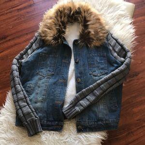 Jackets & Blazers - Faux Fur Collar Denim Jacket